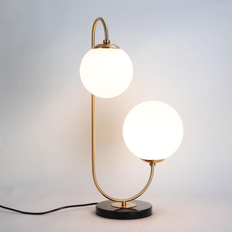 2 Light Brass Glass Globe Table Lamp