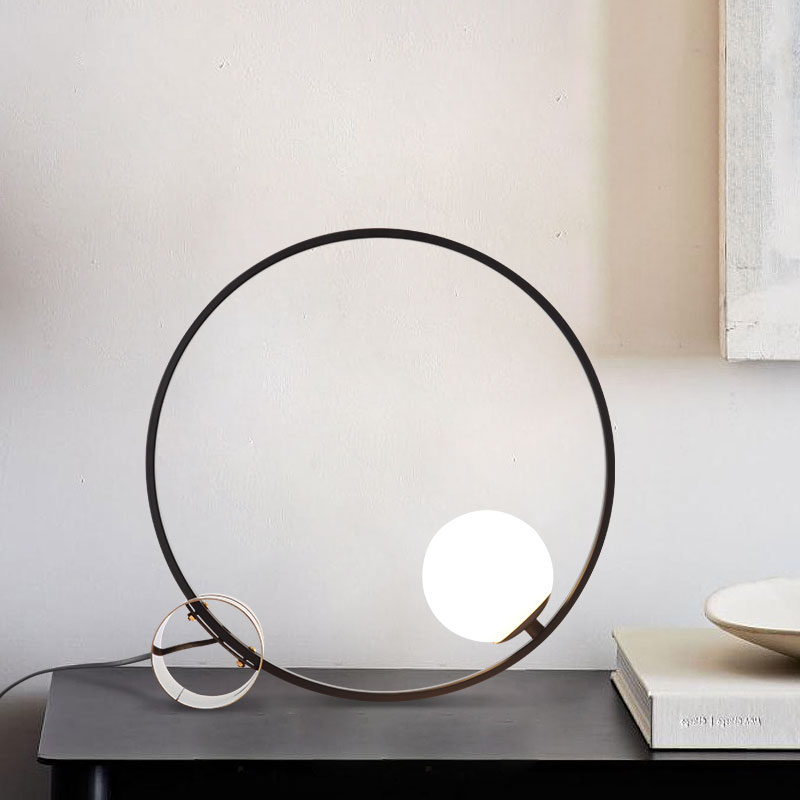 Black 1 Light Circle Table Lamp with Brass Base