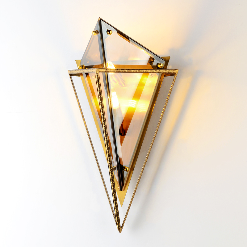 Triangle Amber Glass Wall Sconce