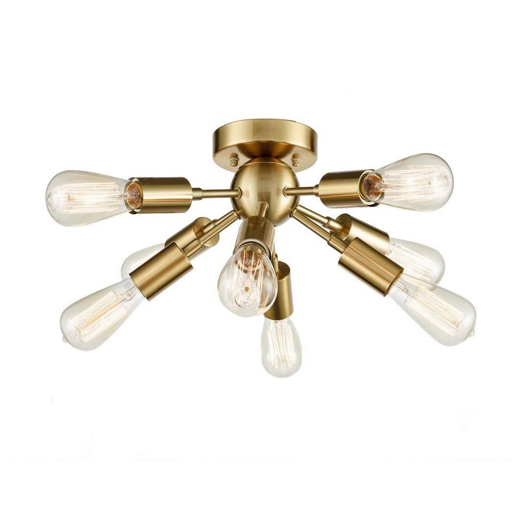 Industrial Sputnik Chandelier Flush Mount Ceiling Light Brass/Brushed Silver