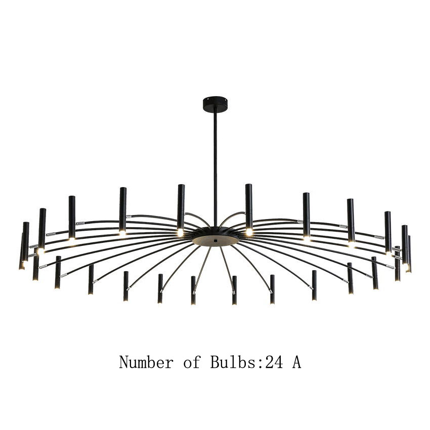 12/24 Light Large Black Radial Chandelier with Adjustable Heads