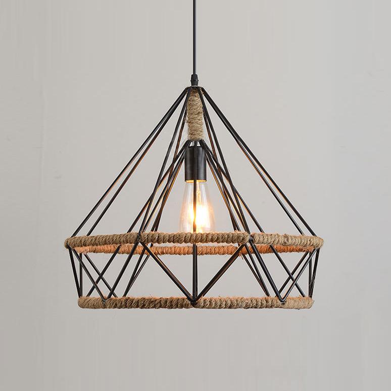 Retro Diamond Shape 1 Light Hanging Rope Pendant Light