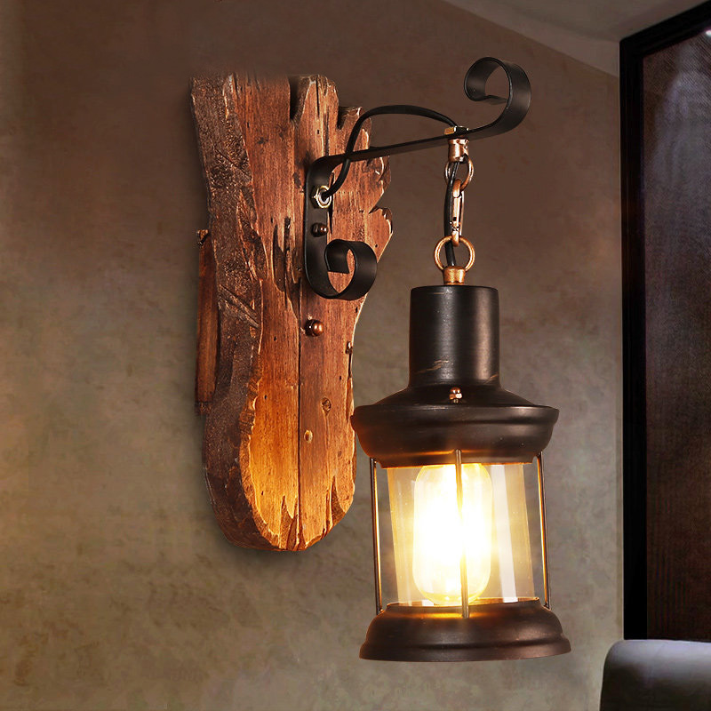 Industrial Style  Glass Wall Lantern Sconce with Wood Base