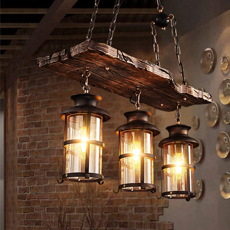 Vintage Industrial 2/3 Light Wooden Kitchen Island Chandelier with Glass Lantern
