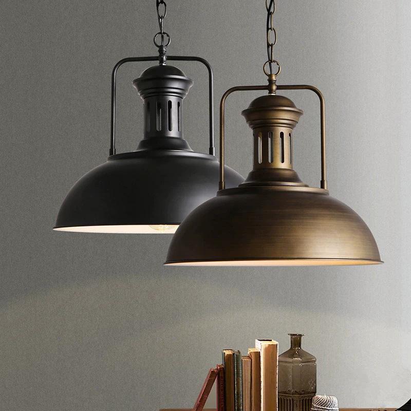 Vintage Bronze/Black Industrial Dome Shade 1 Light Barn Pendant Light