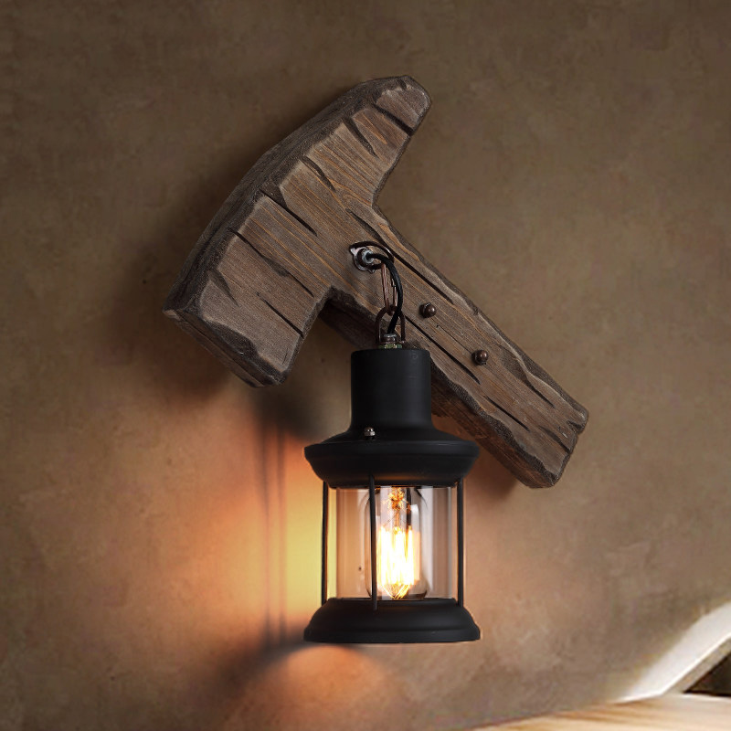Axe Shape Industrial Wood Wall Lamp with Glass Lantern Shade