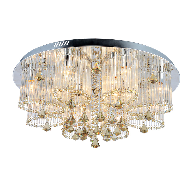 Modern Style Flush Mount in Chrome Finish with Elegant Cut Clear Crystal