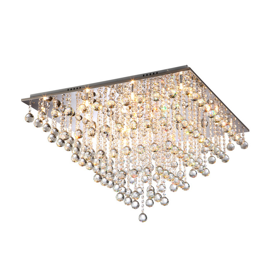 Chrome Modern 12-Light Crystal Rain Drops Flush Mount Ceiling Lamp