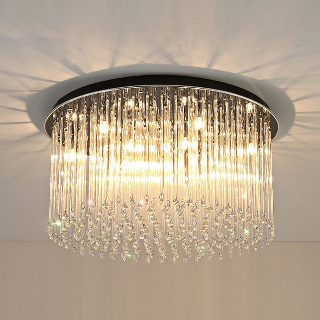 Modern Luxury 8/10 Light Crystal Round Flush Mount Ceiling Light with Glass Strips