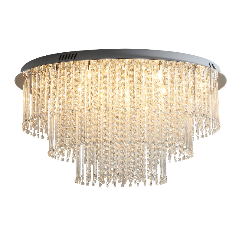 Modern Luxury 3-Tier 12 Light Crystal Ceiling Lamp Chrome