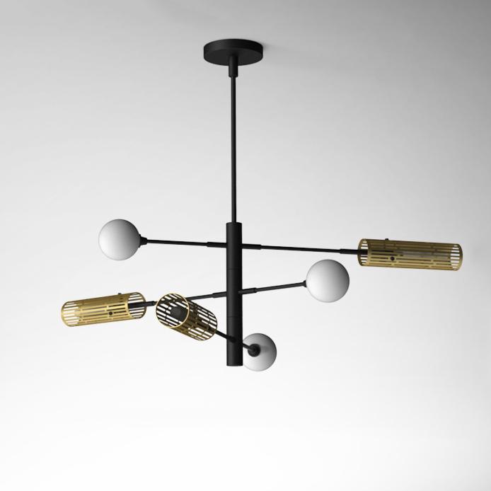 Industrial Style 6 Light Sputnik Chandelier