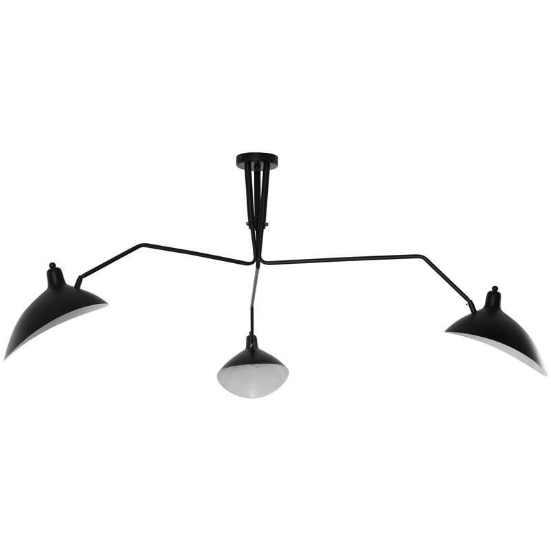 Mid Century Modern 3 Light Stretching Ceiling Light in Black