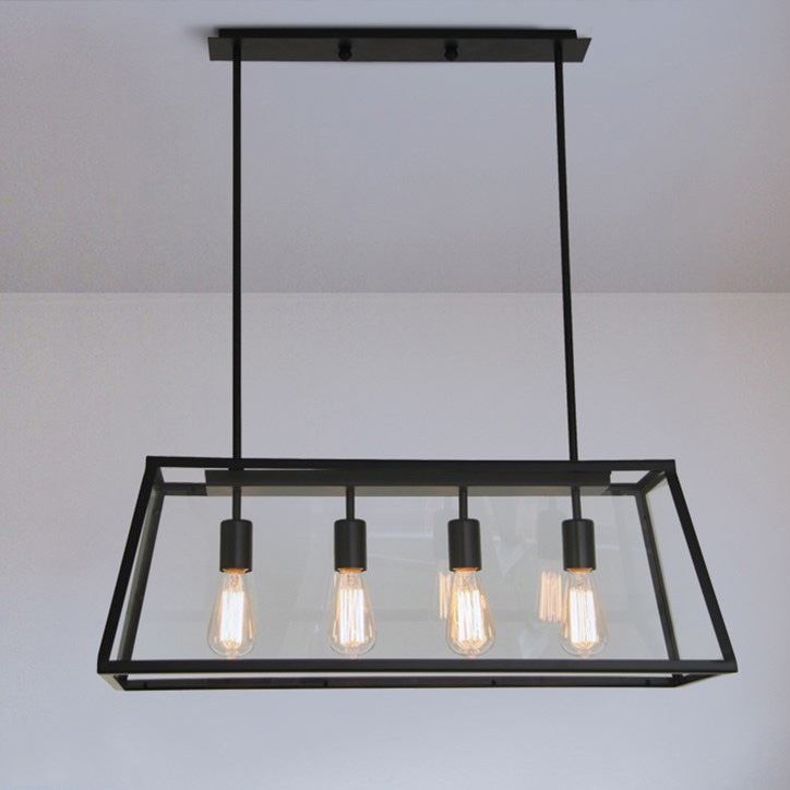 Modern Farmhouset Kitchen Island Pendant Retangle Chandelier, Metal & Glass