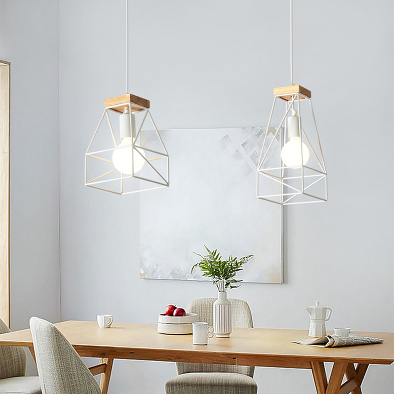 Metal Frame Geometry Shade Wood Pendant Light