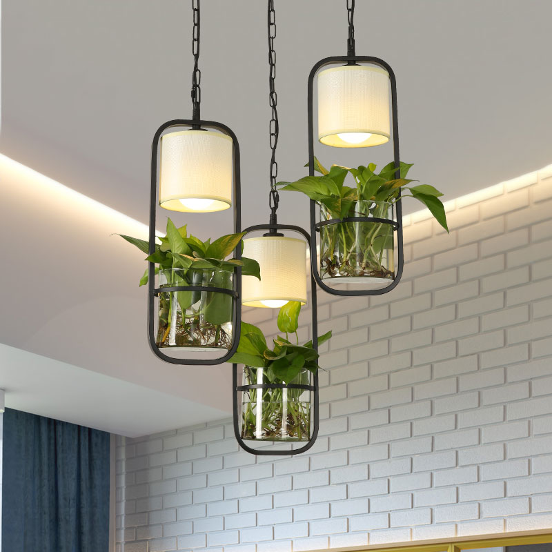 Fabric Shade Metal Frame Glass Pot Plant Pendant Light