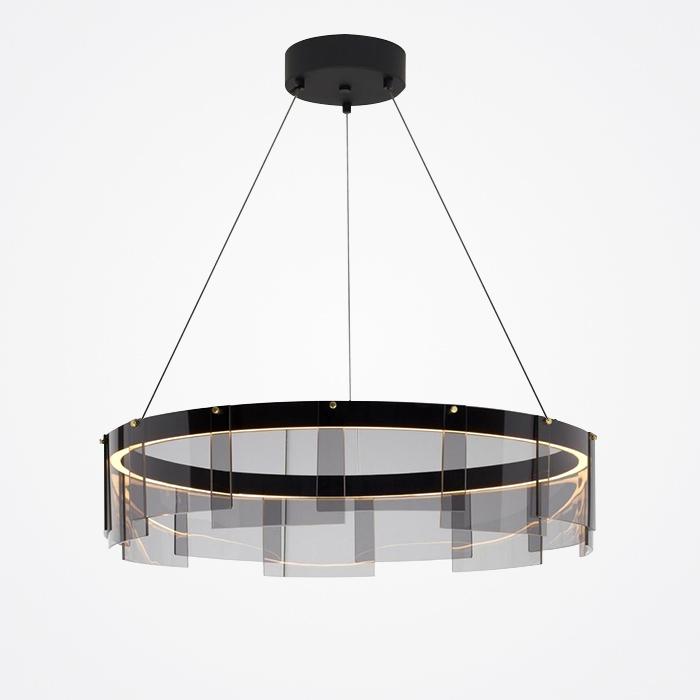 Circle Pendant Light Creative Smoky Gray Glass Light