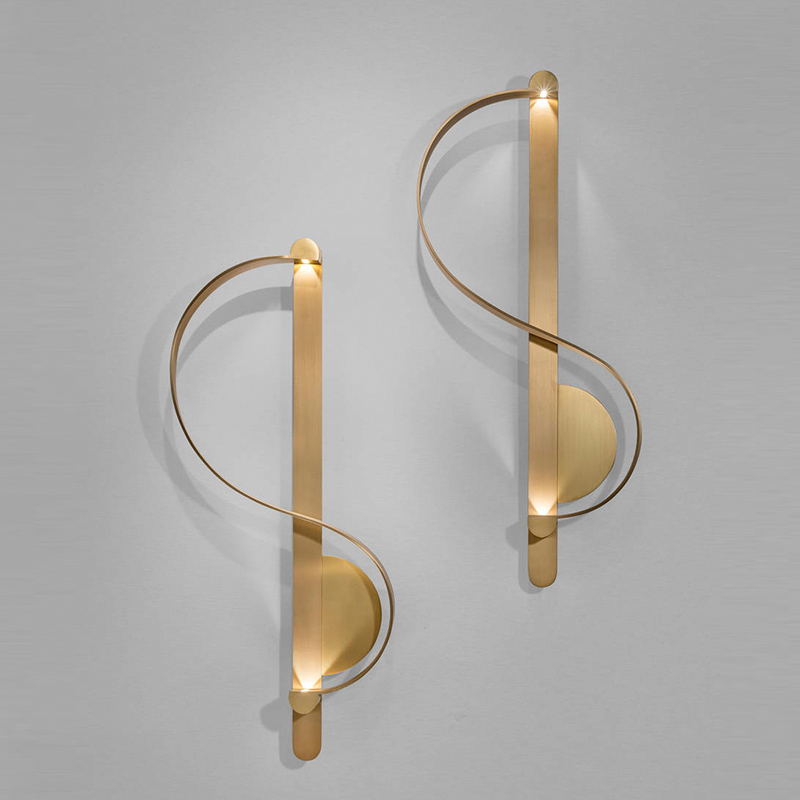 Post-modern LED Wall Light Copper S-Shaped Artistic Corridor Background Decor