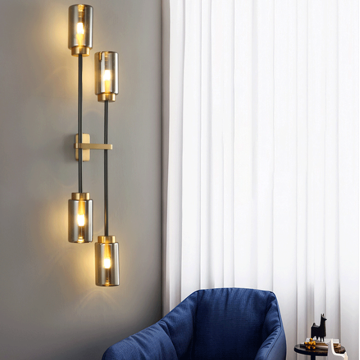 Post-modern Wall Light Glass Lampshade Copper Decor