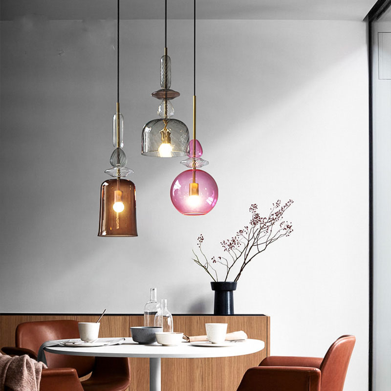 Glass Shade 5 Versions Elegant Pendant Light