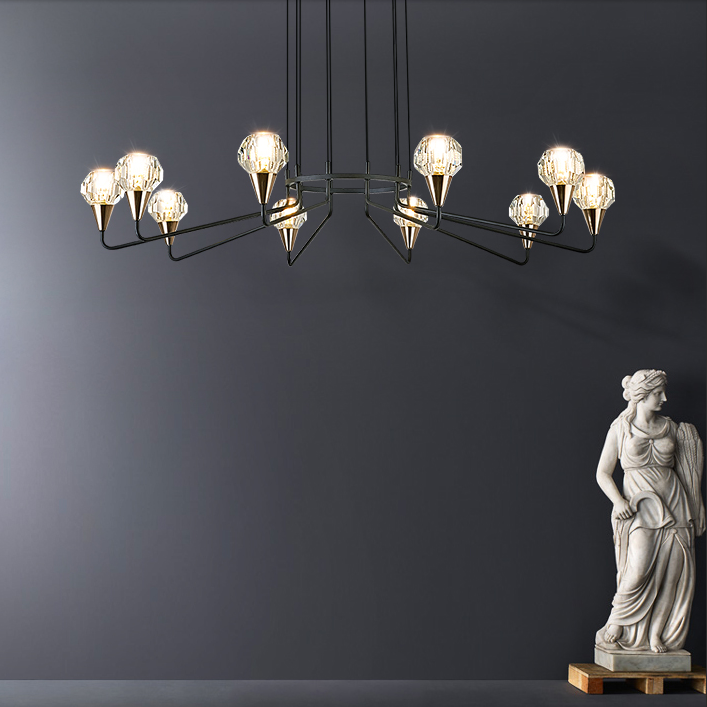 K9 Crystal Shade Metal Chandelier Light