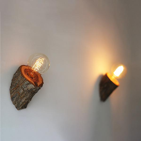 Woodpecker Hand Crafted Wood Wall Light