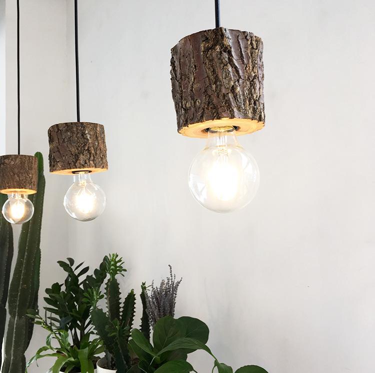 Woodpecker Hand Crafted Wood Shade Pendant Light