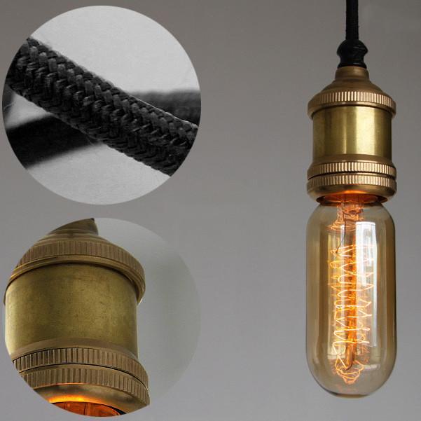 Solitaire Bronze Bare Edison Bulb Pendant Light