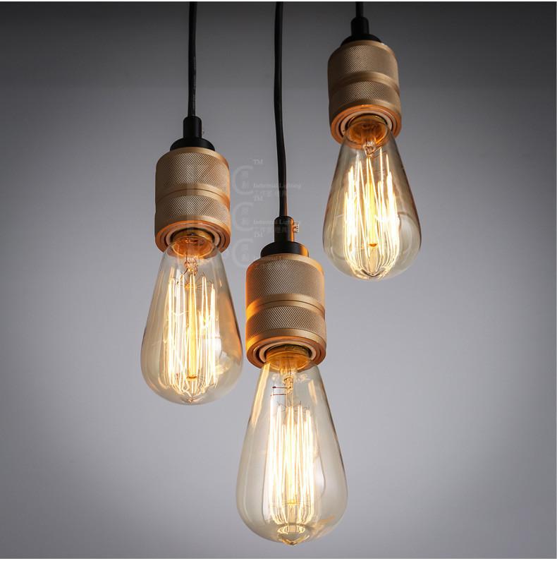 Hooked Industrial Brass Single Bare Edison Bulb Pendant Light