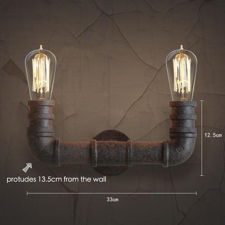2 Head Duo Water Pipe Wall Light Sconce