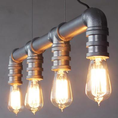 4 Head Water Pipe Industrial Pendant Light