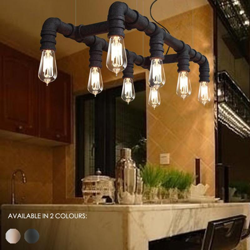 8 Head Water Pipe Industrial Pendant Ceiling Light