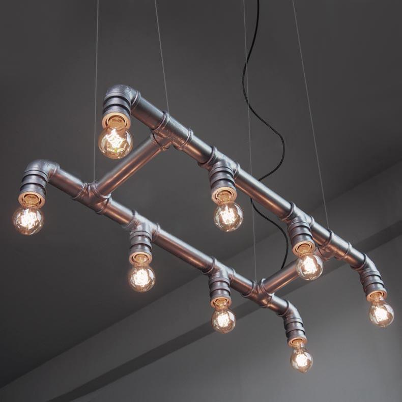 8 Head Water Pipe Industrial Pendant Ceiling Light