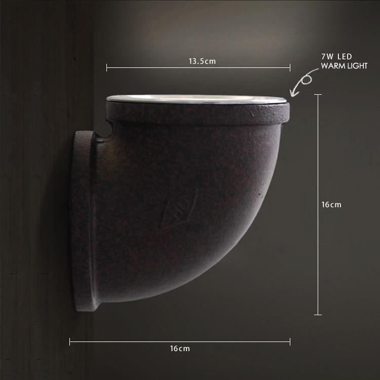 Corner Rustic Water Pipe Wall Light