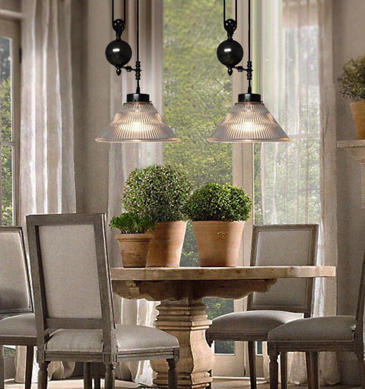 Bennet Ribbed Glass Shade Pulley Pendant Light