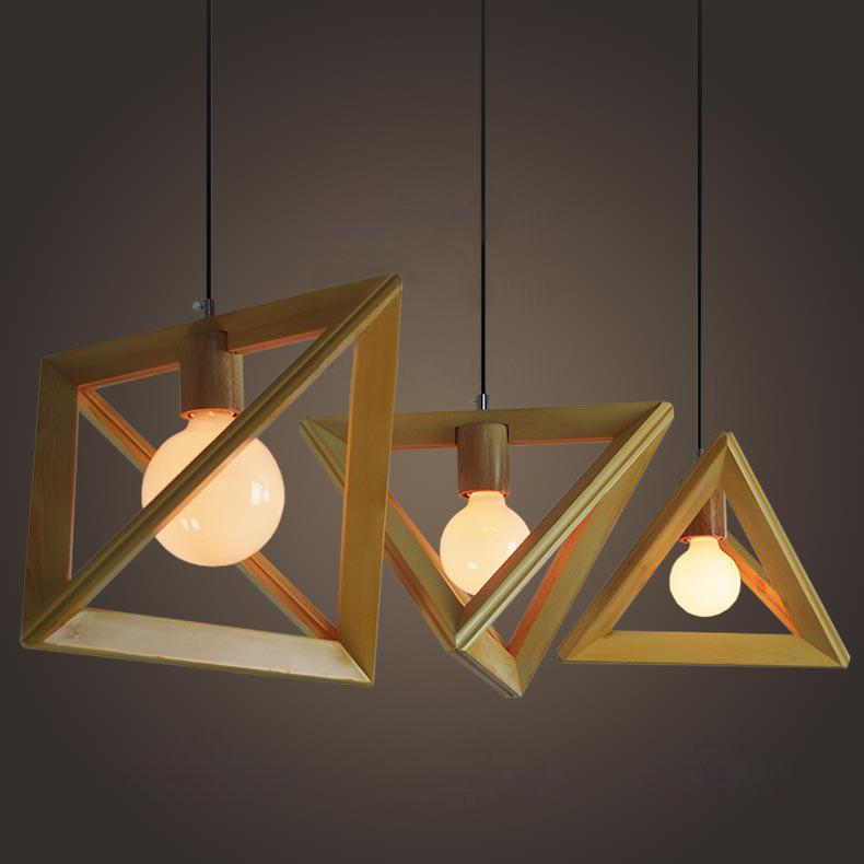 Wooden triangle pendant light