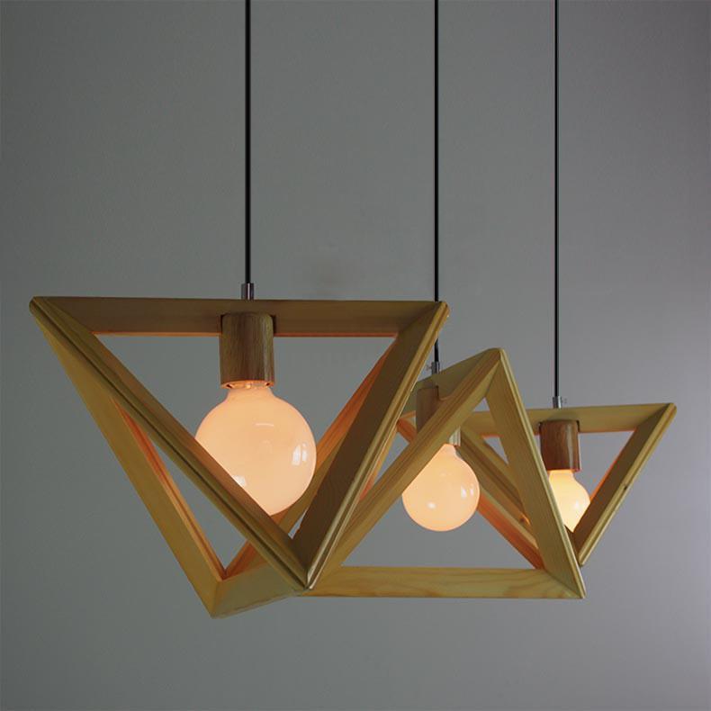 Wooden triangle pendant light