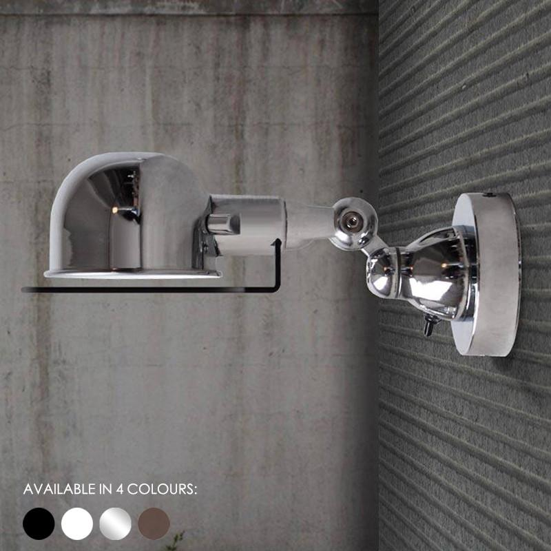 Fotis Short Arm Industrial Wall Light. Rustic Loft Warehouse Inspired Design.
