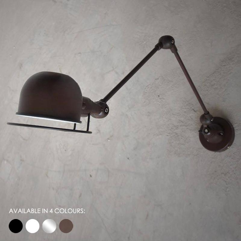 Fotis Long Arm Industrial Rustic Wall Light. Loft Warehouse Inspired Design.