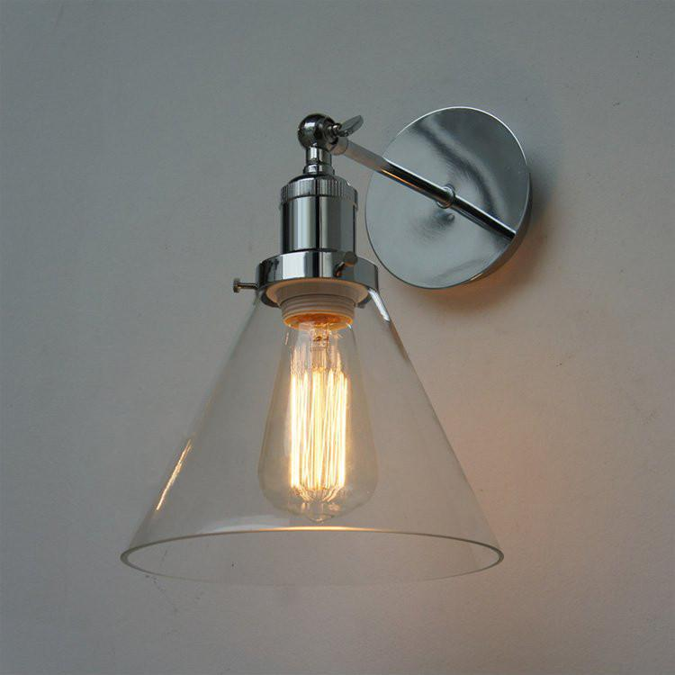 Chrome Wall Light With Glass Cone Shade