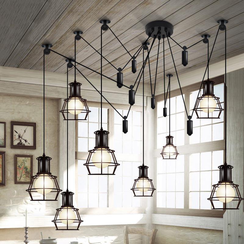 Multi head Work Lamp Cage Chandelier