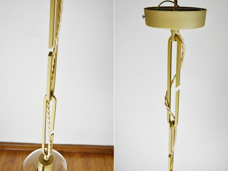 Hanging plant vase pendant light in brass