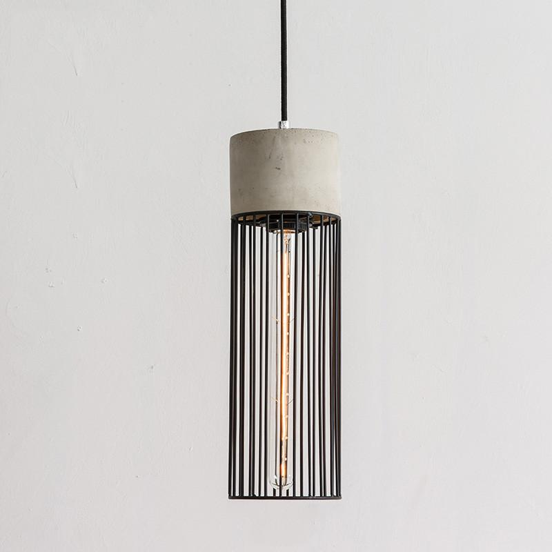Long Pencil Concrete Cement Steel Cage Pendant Light