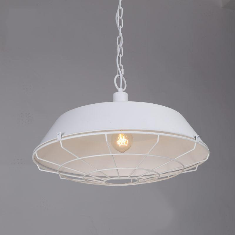 Vintage Industrial Pendant Light With Cage Covering - White