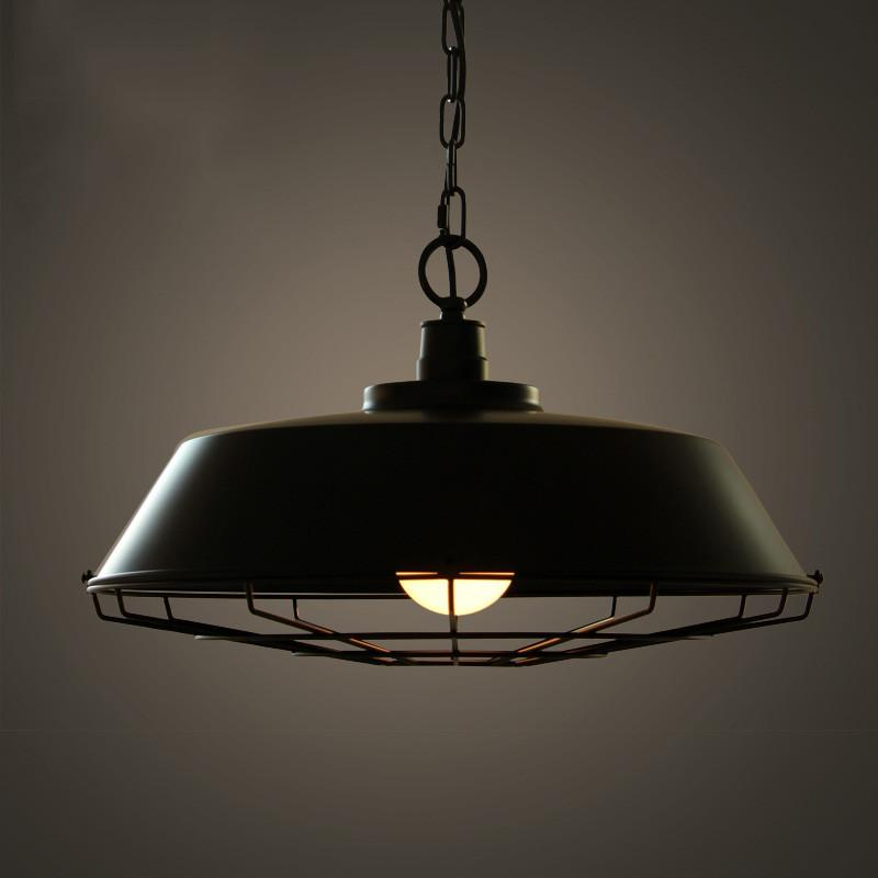 Vintage Industrial Pendant Light With Cage Covering - Black