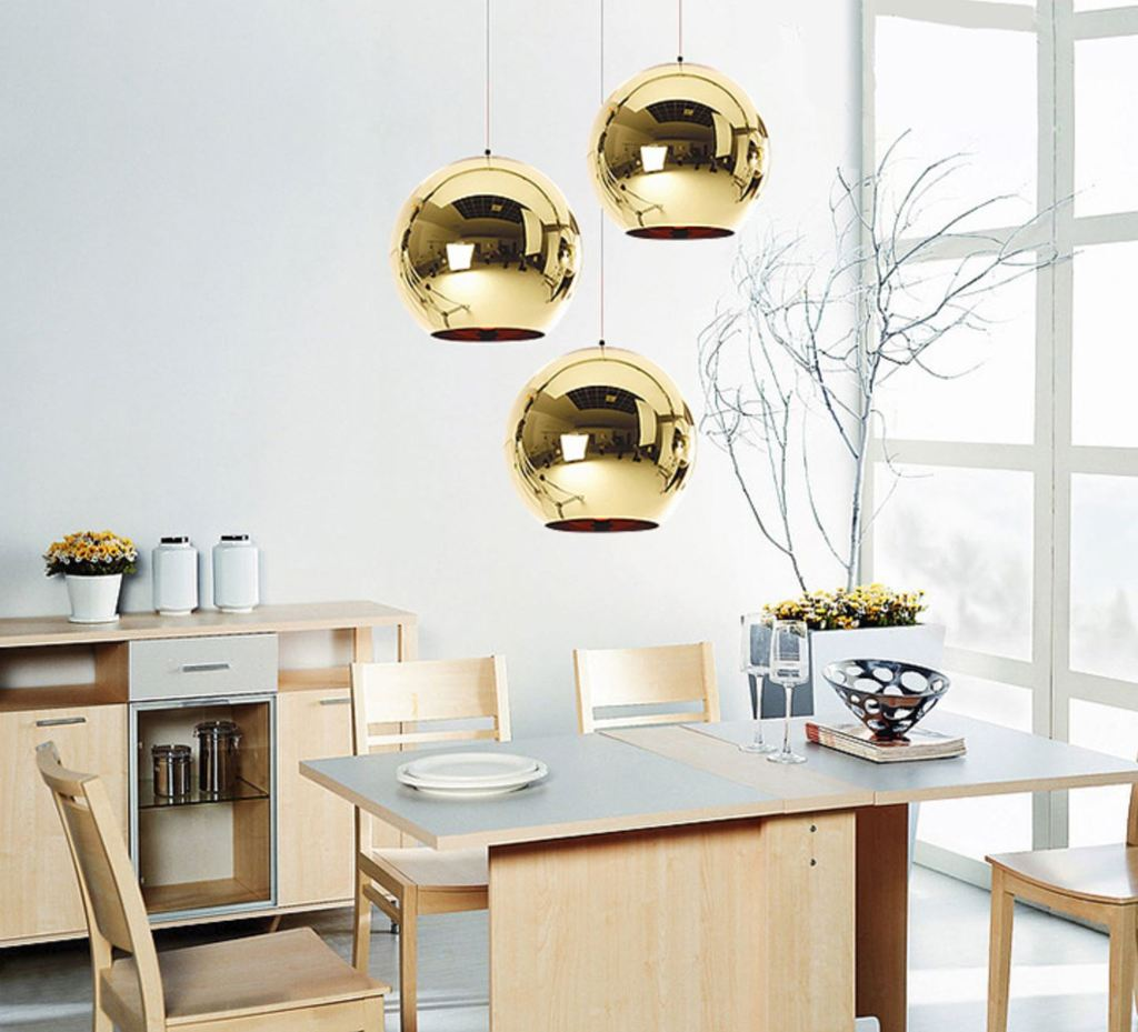 Gold shade mirror ball pendant Light