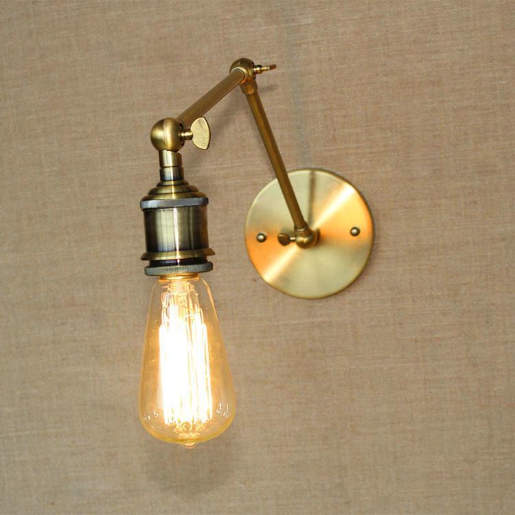 Brass Bare Bulb Industrial Wall Light