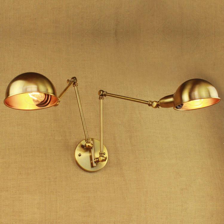 Brass Double Head Shade Industrial Wall Light