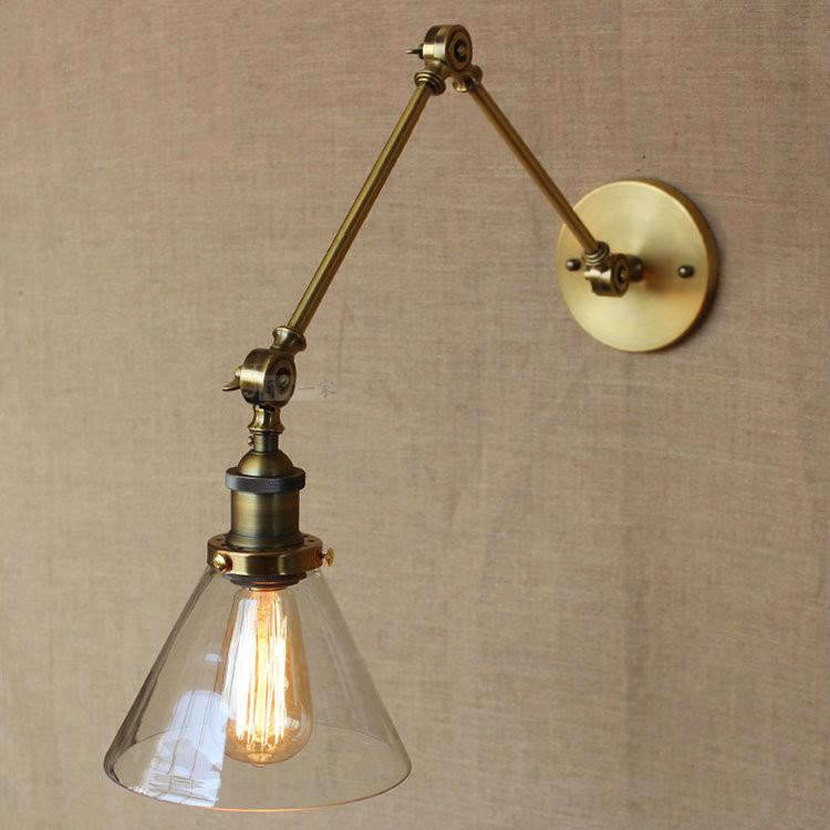 Brass Glass Cone Shade Industrial Wall Light