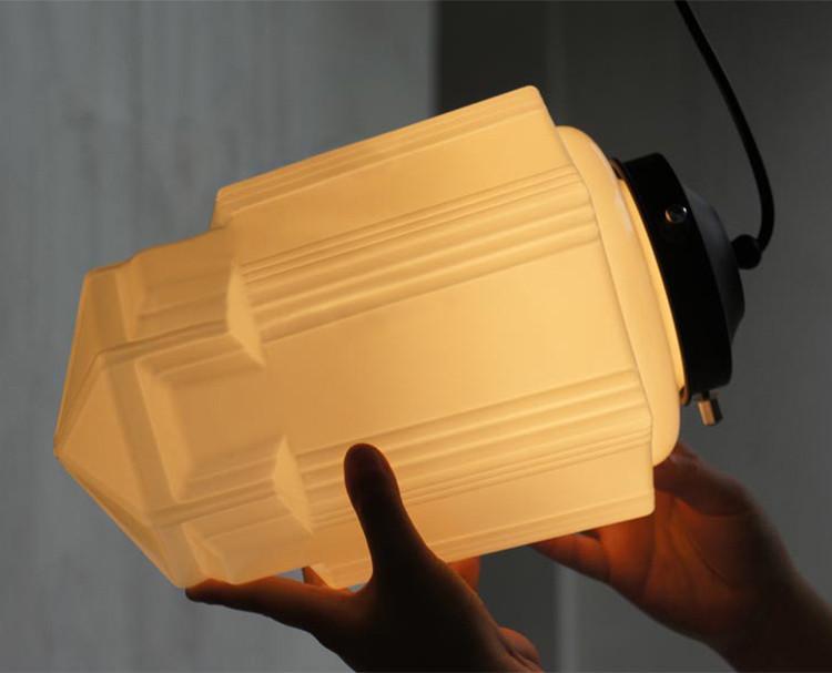 Art deco milk glass pendant light