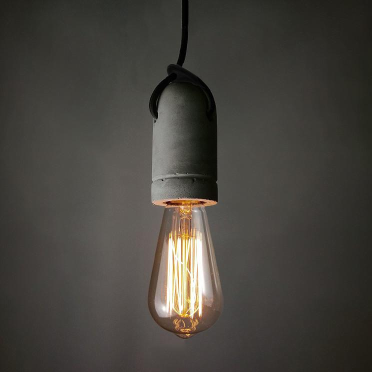Concrete Bare Bulb Light Fitting Pendant Light
